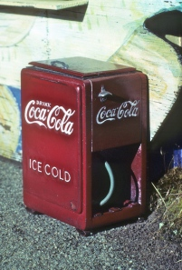 Noel's coke cooler, built of gelutong wood, wine bottle lead and a lot of paint
