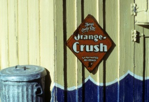 Orange Crush sign, made from paper