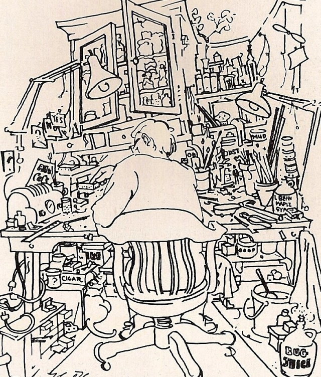 """A man cleaning the attic of an old house found a box full of tiny pieces of string—written on the lid was ""String too short to be saved."""" --Donald Hall drawing by Noel Thomas"
