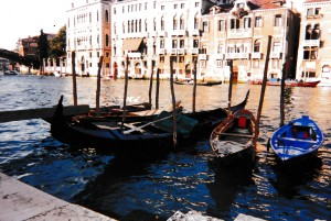 Venice, our favorite day. The old photo doesn't begin to convey the thrill we felt as we stepped off the train, but there it is--Venice in all its crumbling and drowning beauty.