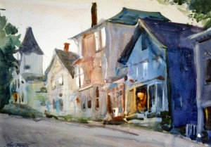 Main Street, Castine watercolor by Noel Thomas circa 1993