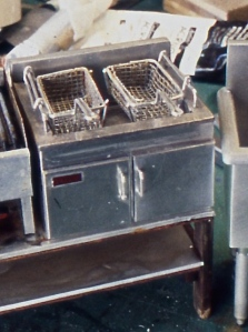 Fryer box and baskets before aging